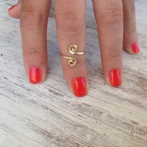 knuckle ring, adjustable Ring, toe ring, gold ring, thin gold ring, twisted ring, any size, simple ring, gold knuckle ring - H1